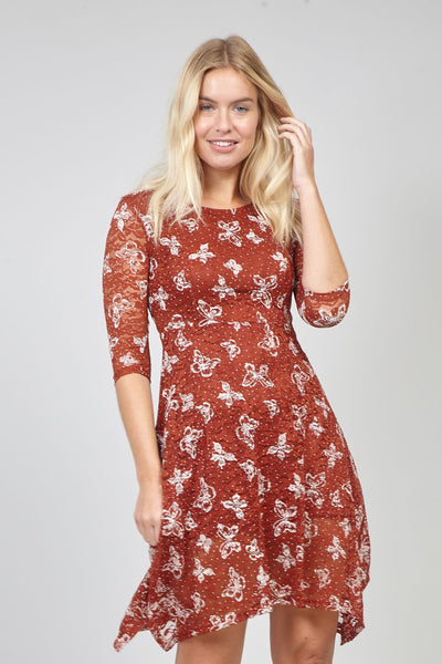 Red | Butterfly Print Lace Tea Dress