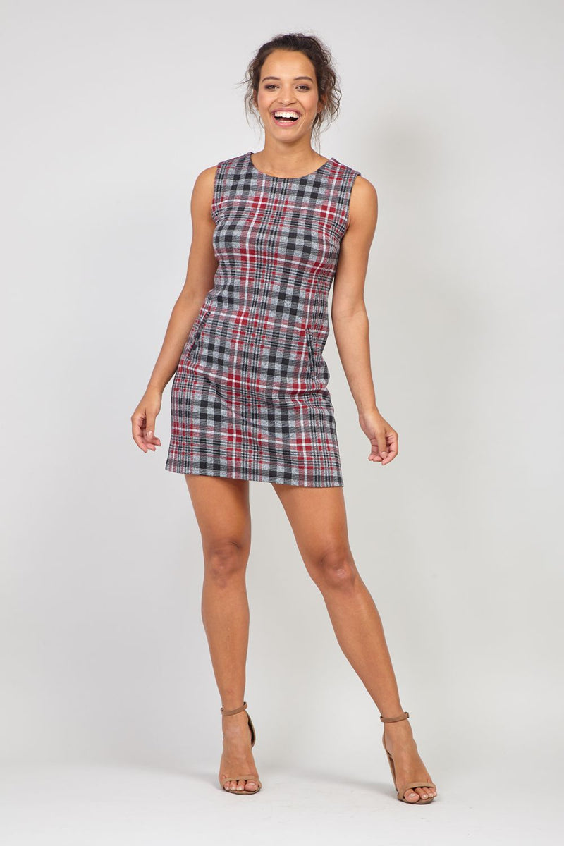 Grey | Checked Shift Dress
