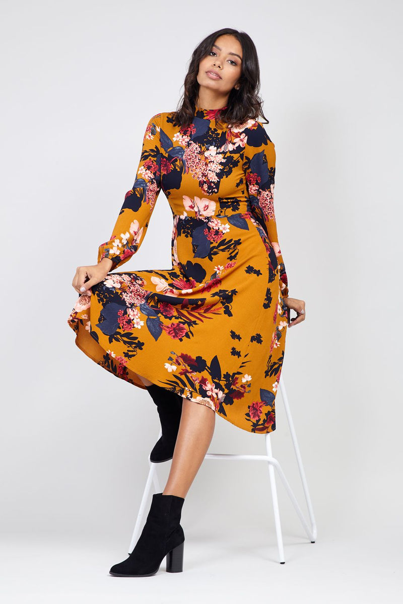 Yellow | Floral High Neck Midi Dress