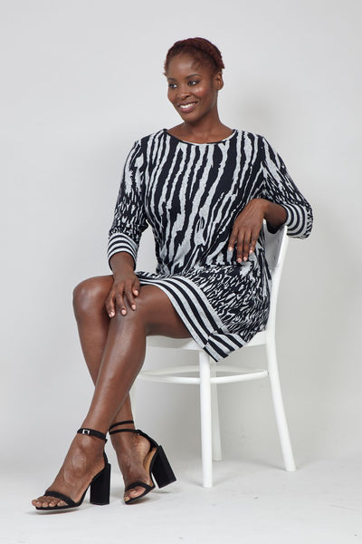 Black | Curve Zebra Print Knit Dress