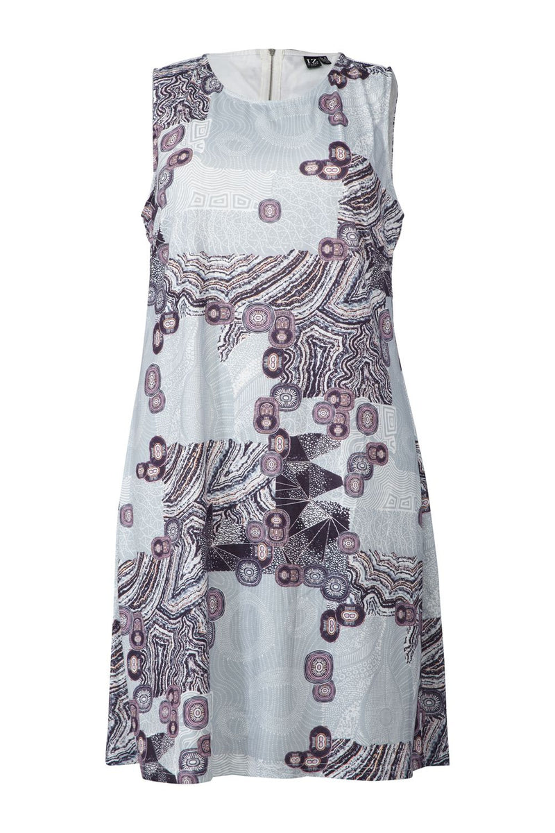 Grey | Curve Abstract Print Shift Dress
