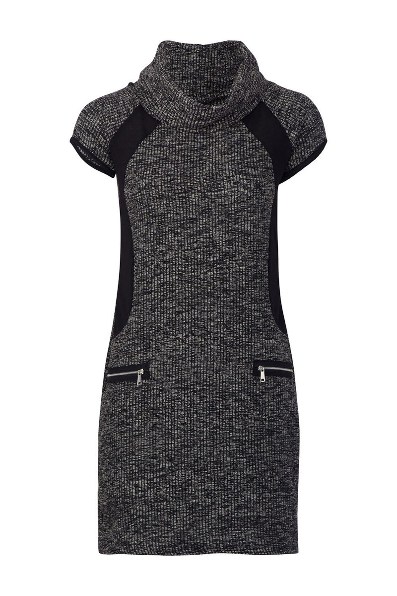 Grey | Knitted Roll Neck Tunic Dress