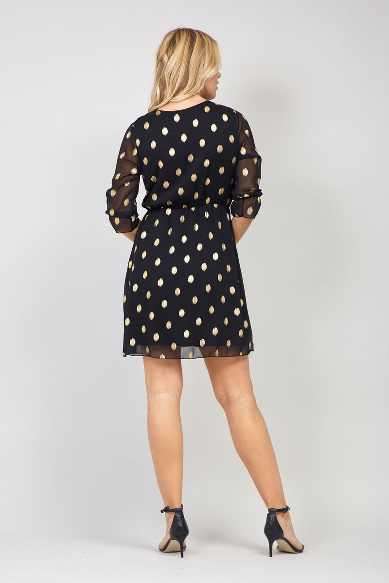 Black | Wrap Front Polka Dot Tea Dress