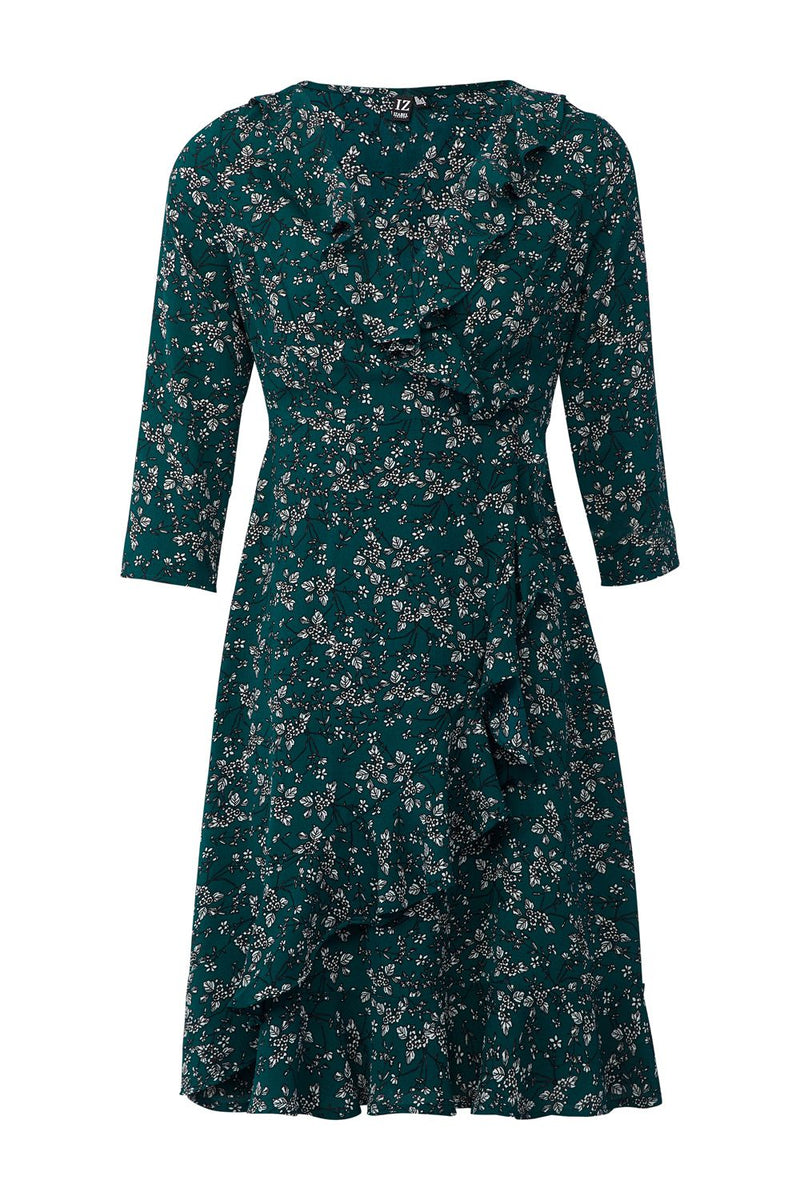 Green | Ditsy Floral Wrap Front Dress