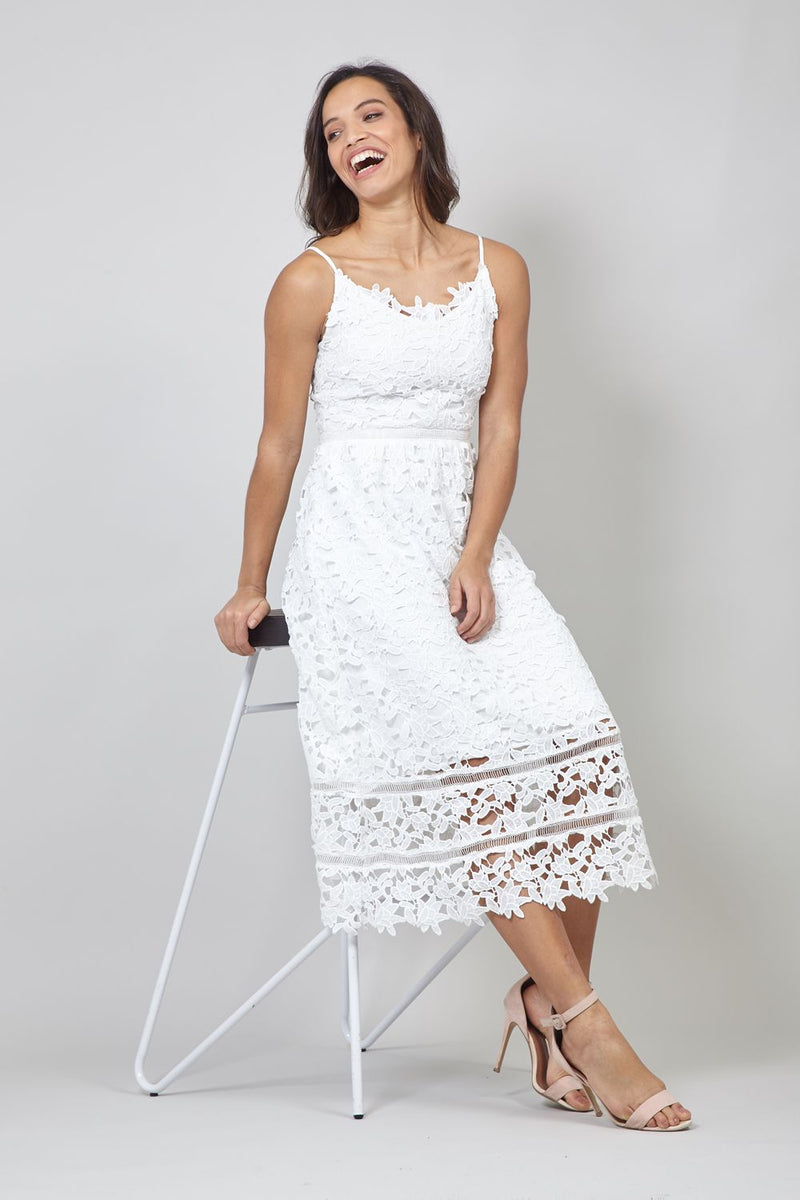 White | Lace Overlay Cami Midi Dress