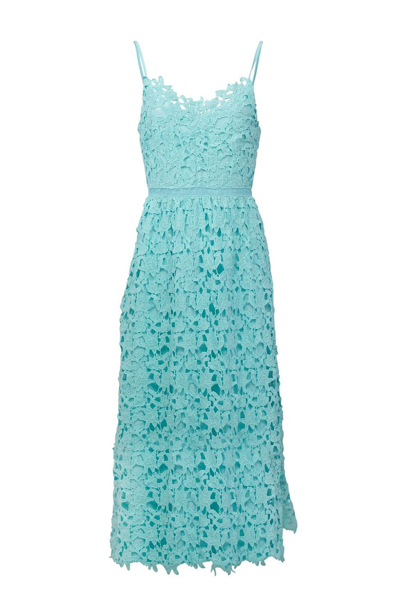 Green | Lace Overlay Cami Midi Dress