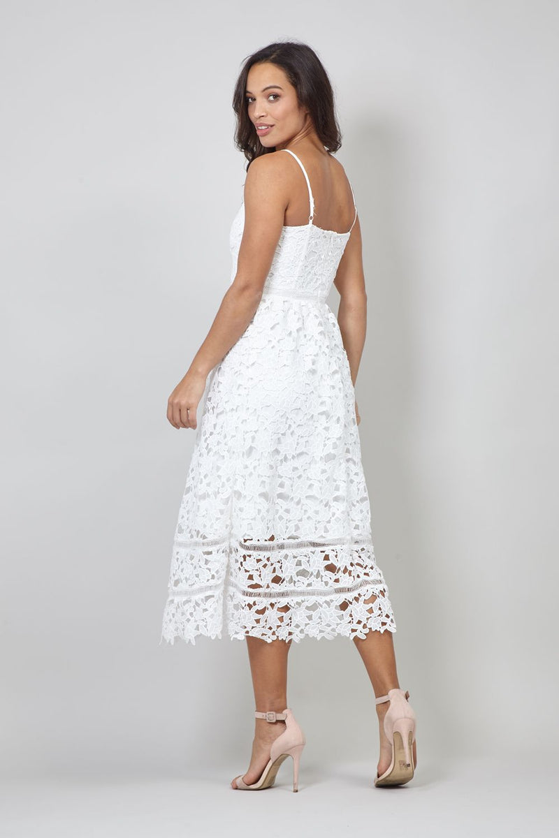 Lace Overlay Cami Midi Dress