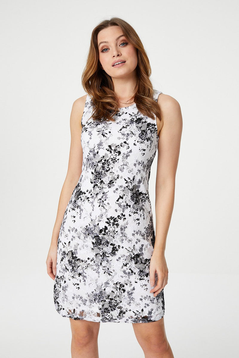White | Ditsy Floral Lace Shift Dress