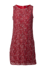 Red | Ditsy Floral  Lace Shift Dress