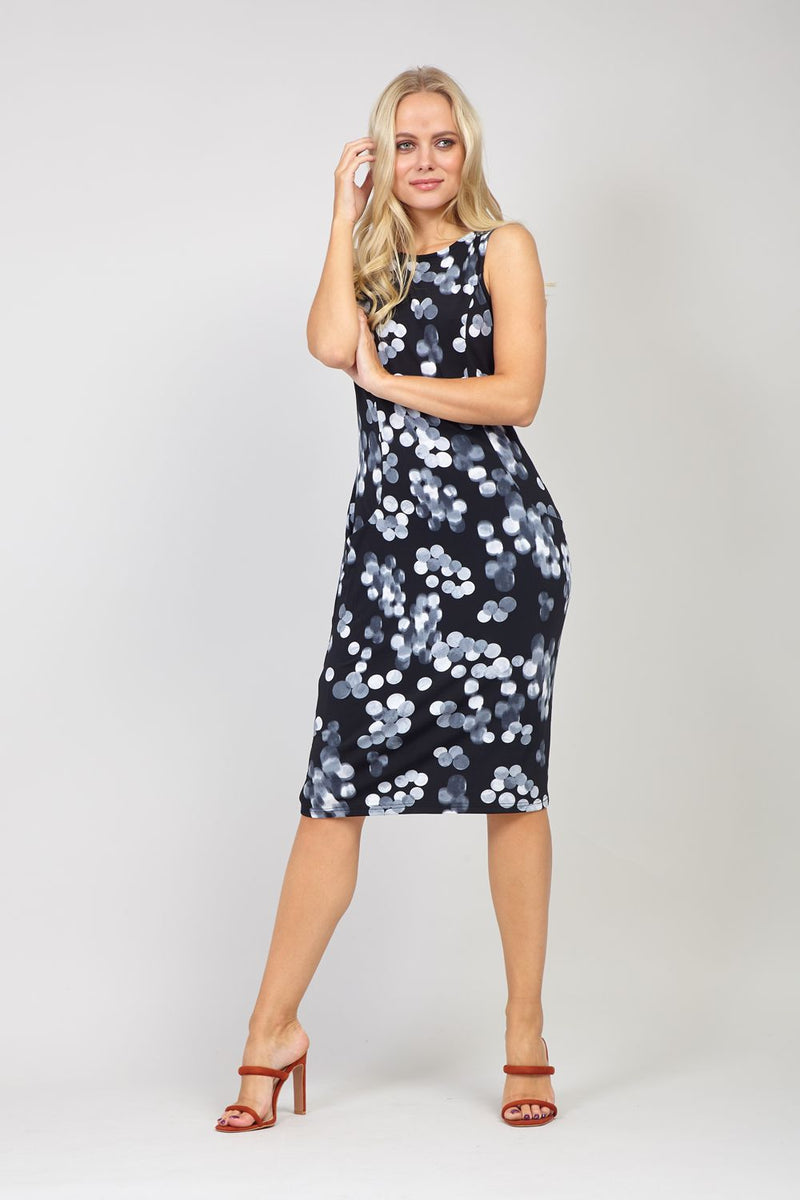 Black | Polka Dot Print Fitted Dress