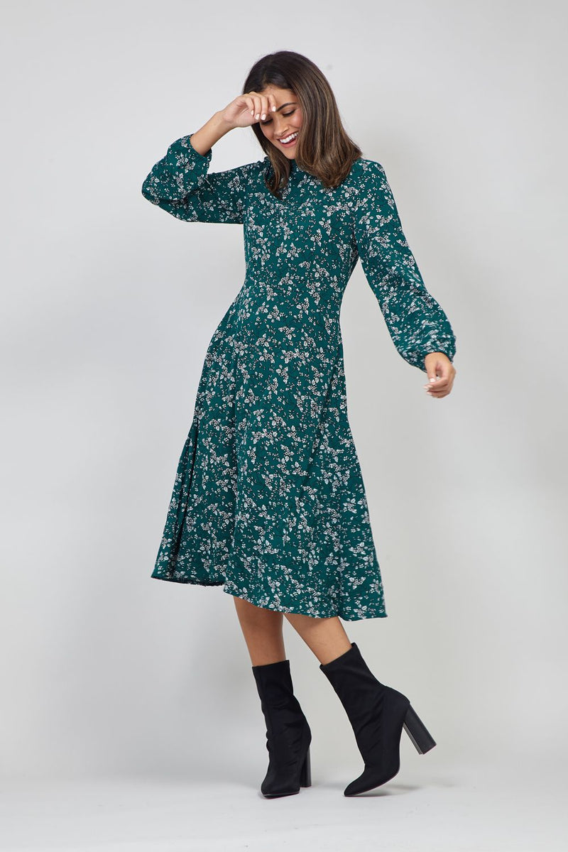 Green | Floral Long Sleeve Midi Dress