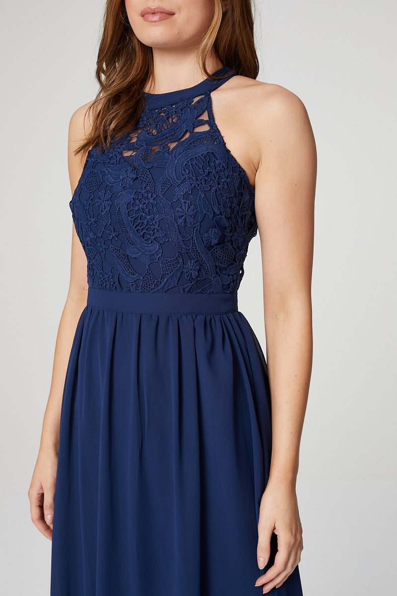 Blue | Lace Bodice Halter Neck Gown