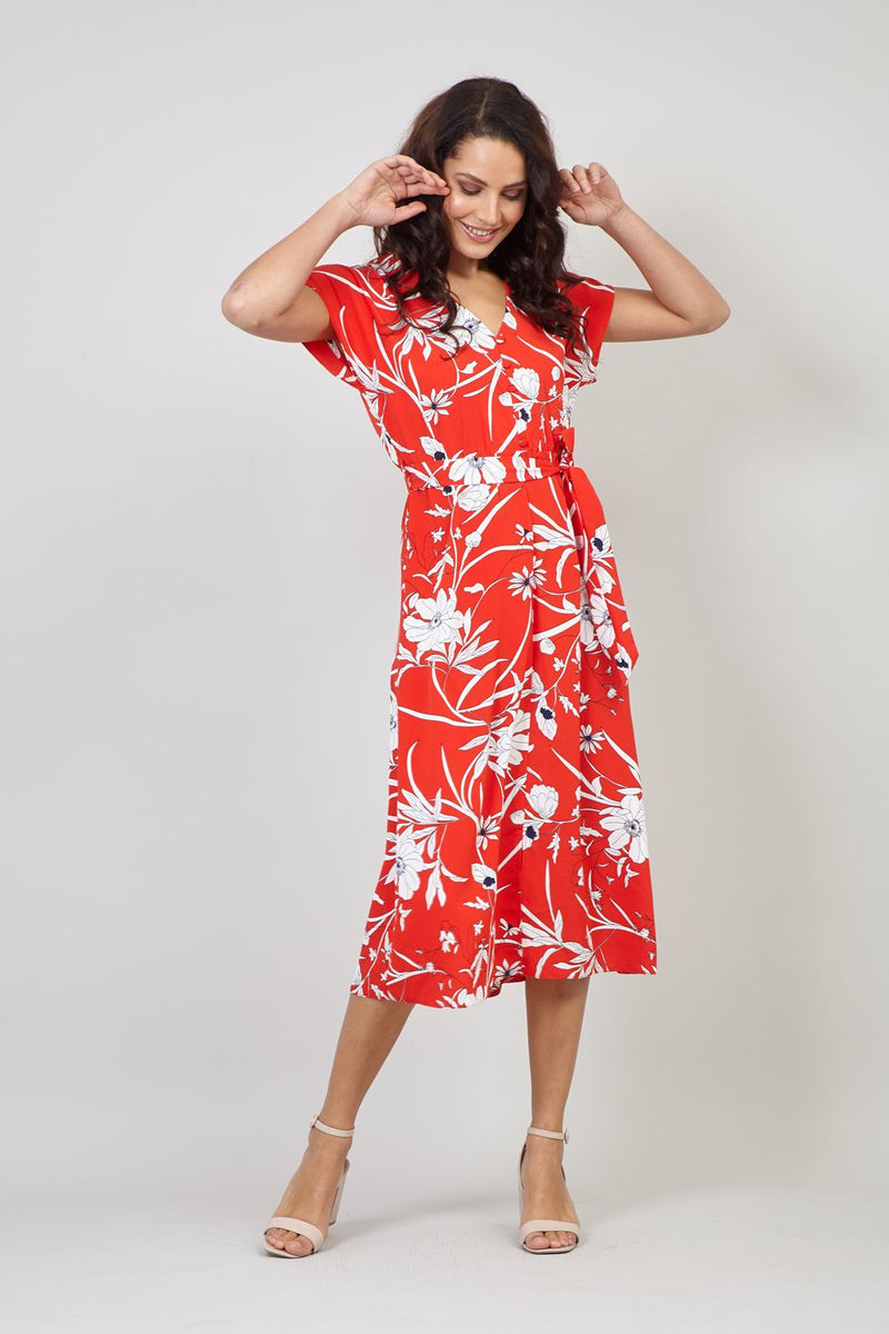 Red | Floral Print Midi Tea Dress