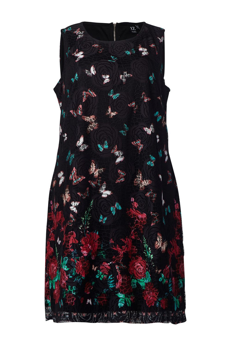 Black | Curve Butterfly Print Lace Shift Dress