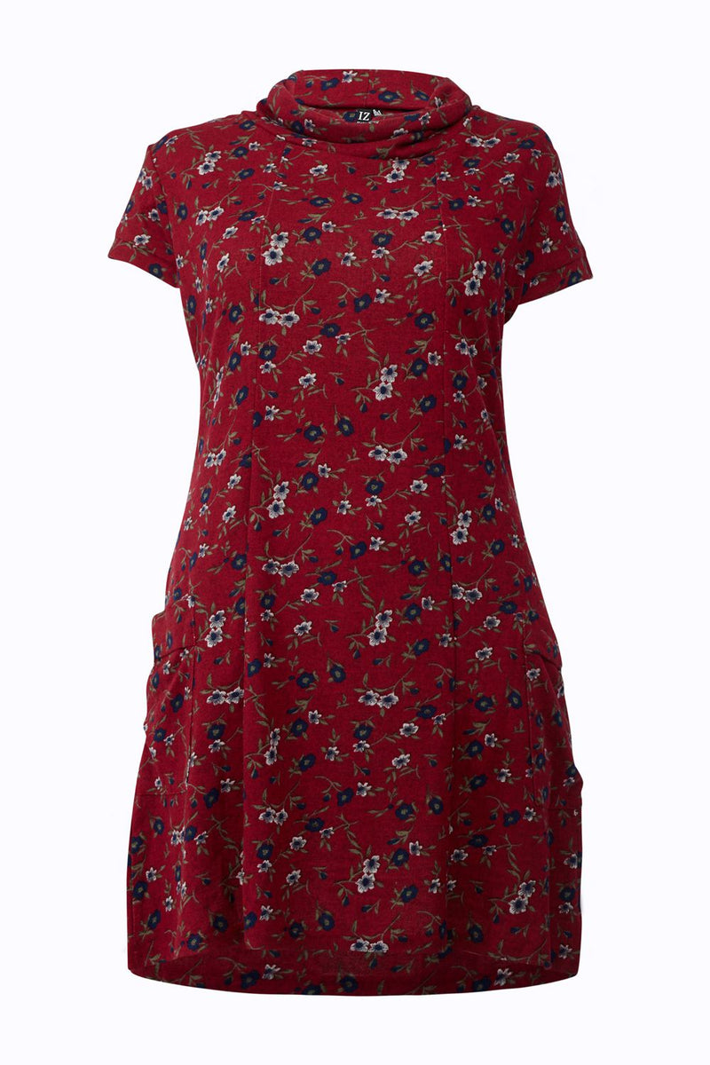 Red | Curve Floral Print Tunic Dress