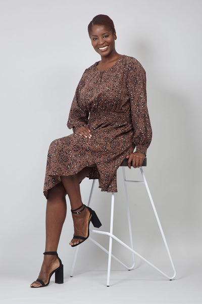 Brown | Curve Animal Print Curve Hem Dress