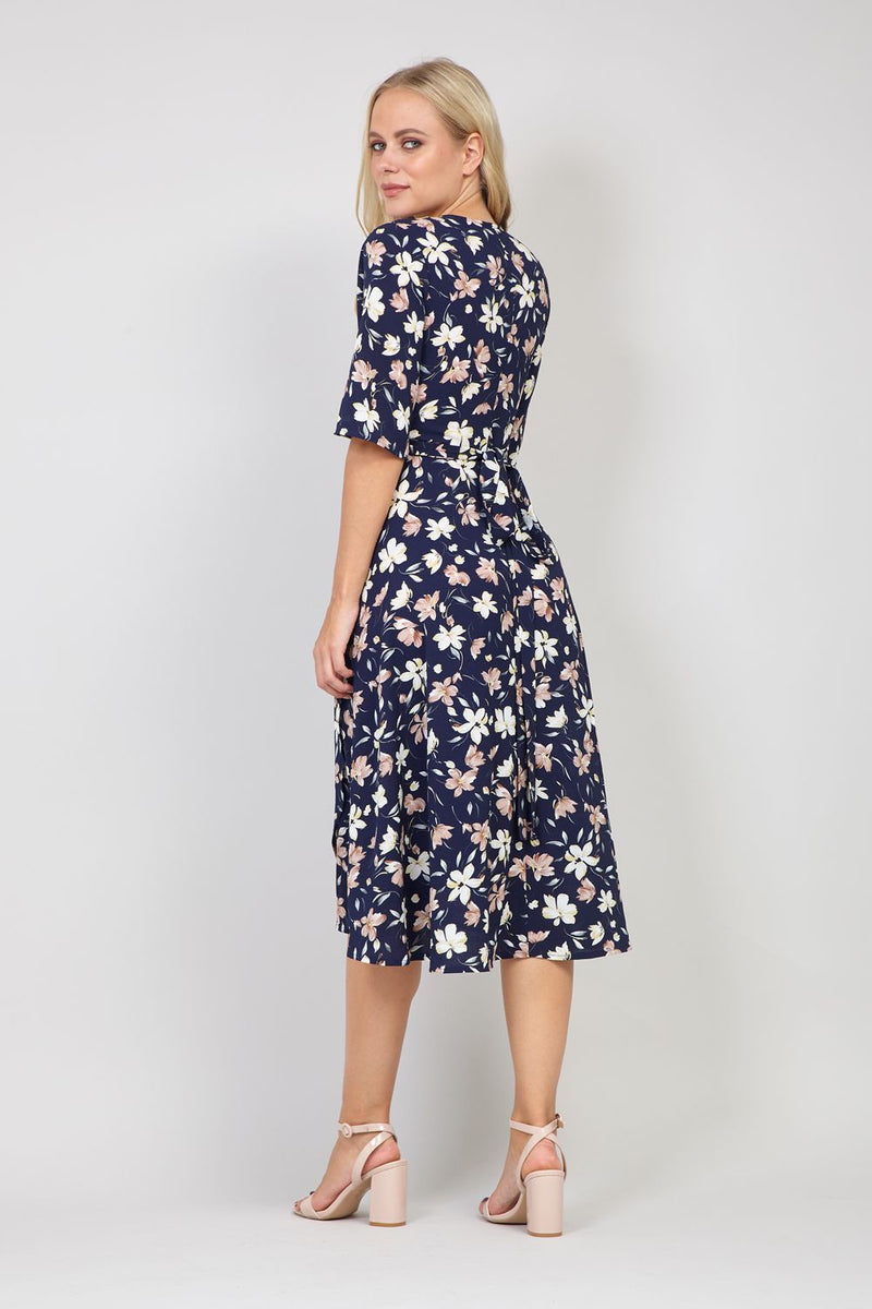 Navy | Spring Floral Wrap Dress