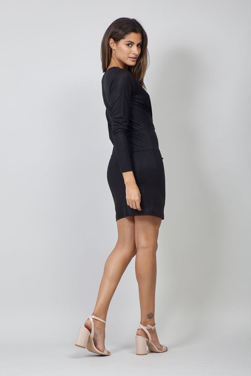 Black | Ruched Front Bodycon Dress
