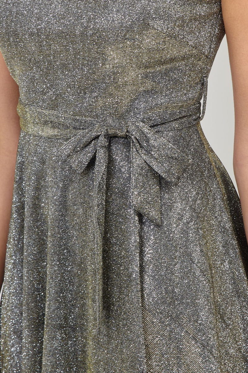 Gold | Tie Waist Skater Dress