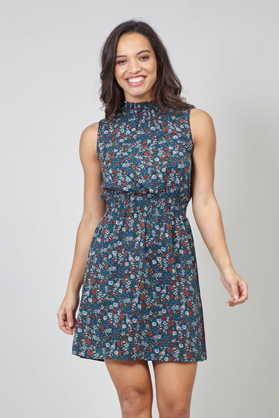 Green | Floral High Neck Dress