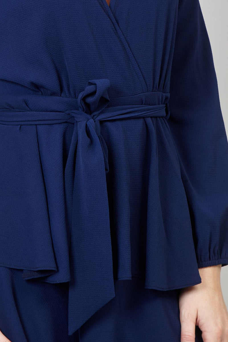 Navy | Tie Waist Skater Dress