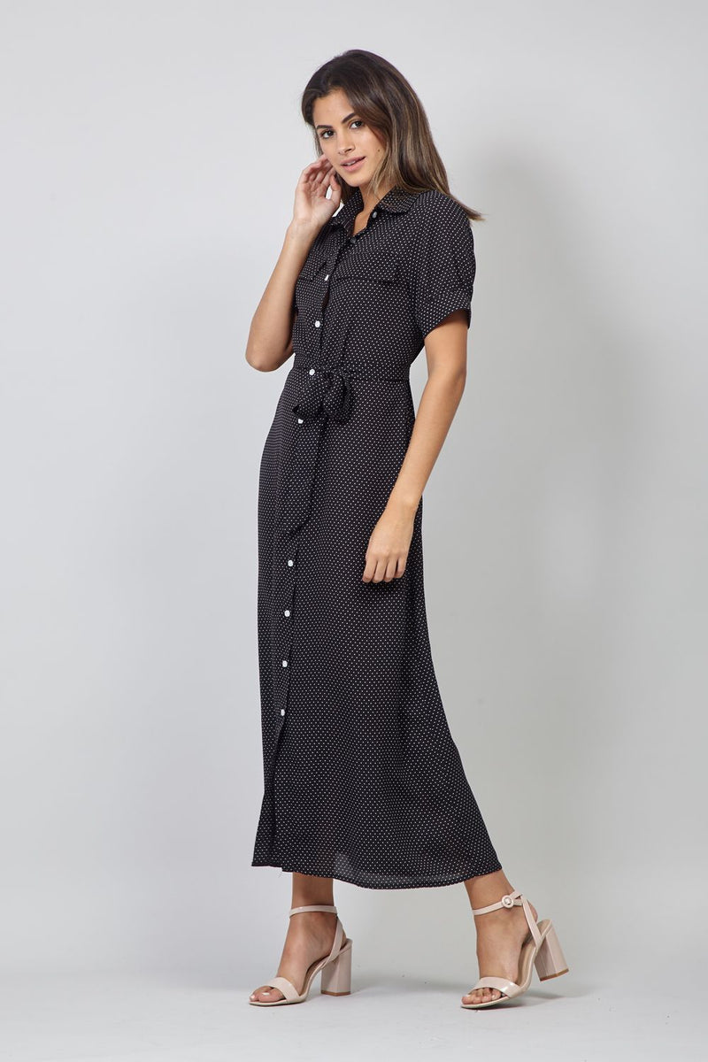 Black | Polka Dot Button Front Shirt Dress