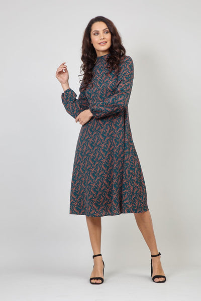 Green | Ditsy Floral Puff Sleeve Tea Dress