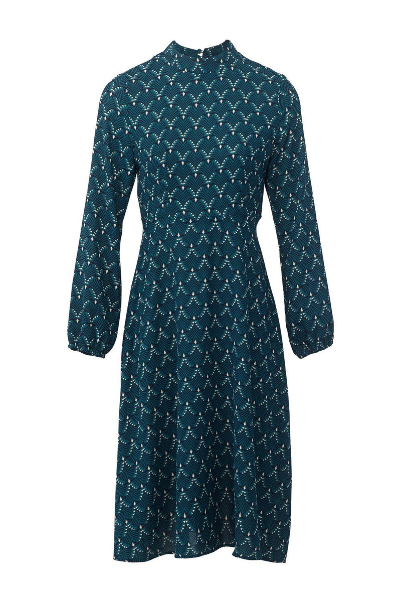 Green | Art Deco Print Midi Dress