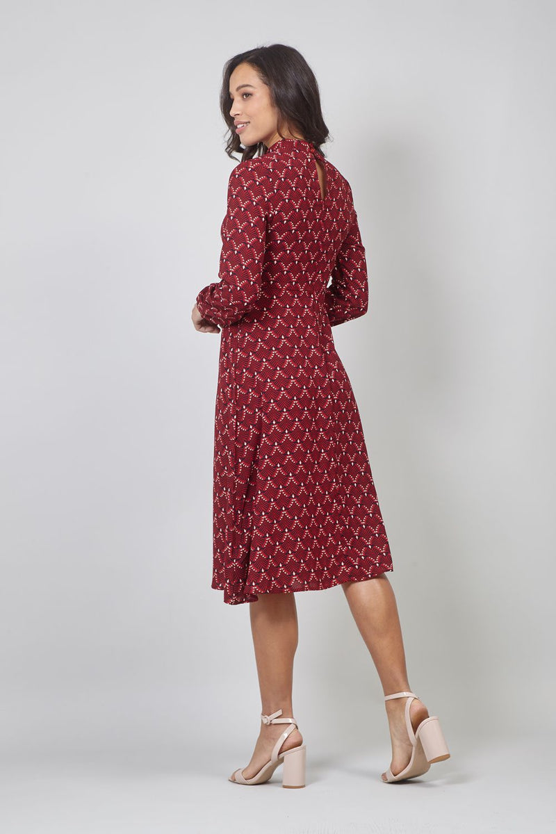 Red | Art Deco Print Midi Dress