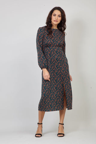 Ditsy Floral Zip Front Tea Dress