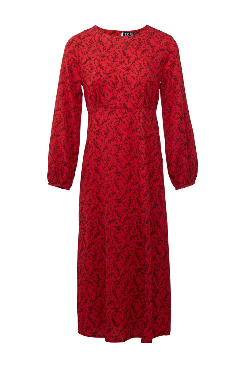Red | Ditsy Floral Front Split Dress