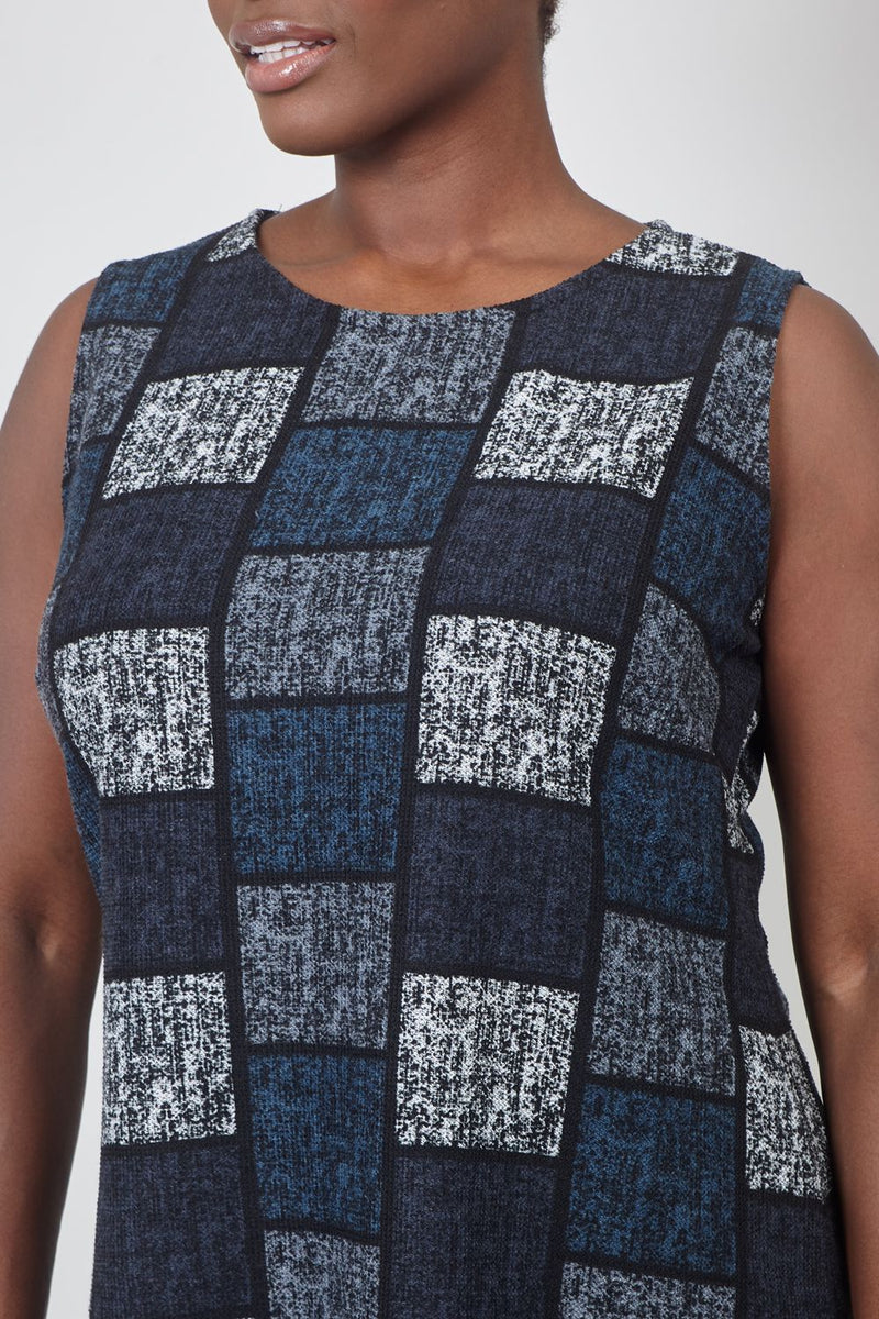 Grey | Curve Checked Print Shift Dress