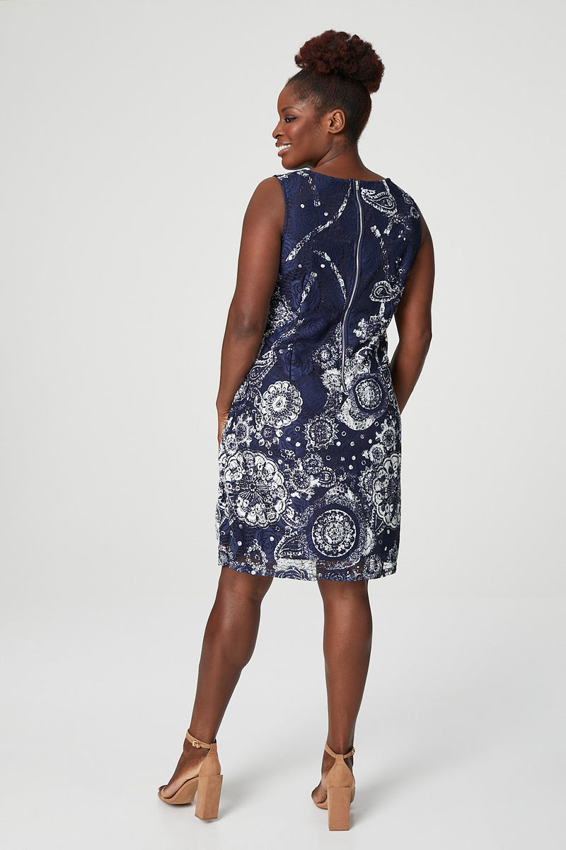 Navy | Curve Eastern Print Lace Shift Dress