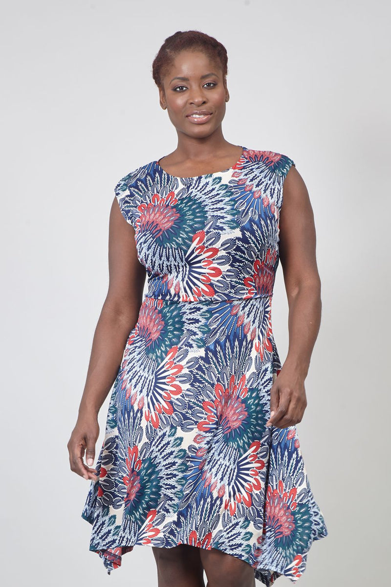 Navy | Curve Peacock Print Fit & Flare Dress