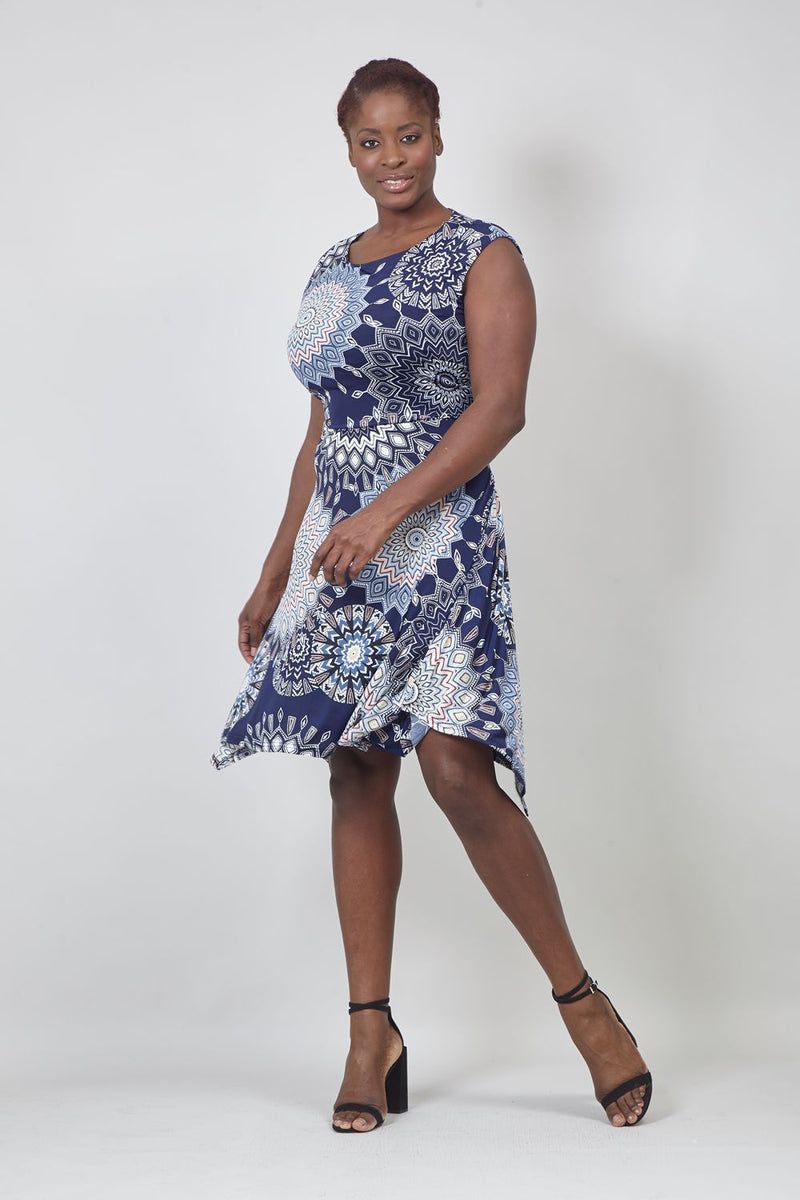 Navy | Curve Kaleidoscope Print Fit & Flare Dress