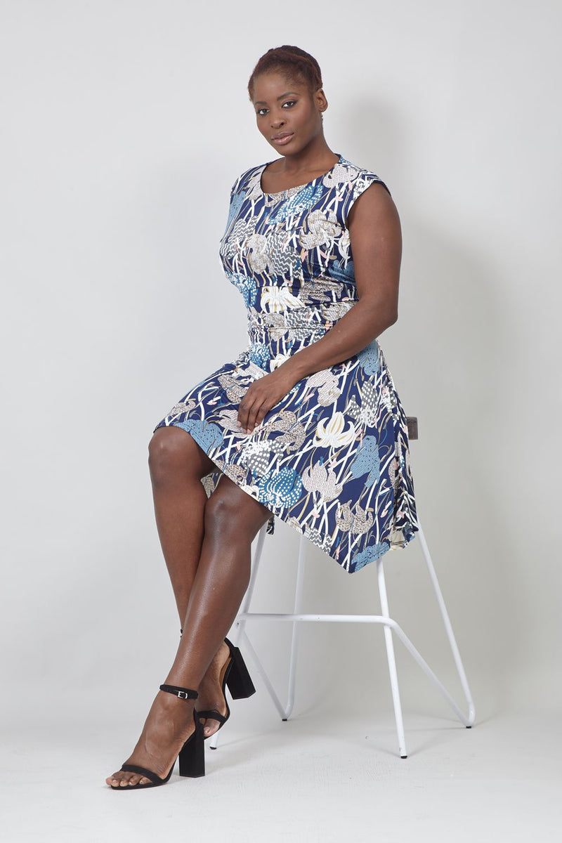 Blue | Curve Floral A-Line Dress