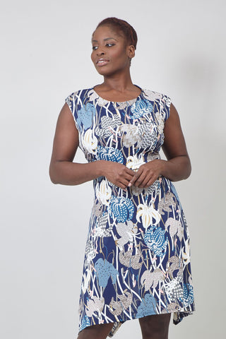 Art Deco Print Midi Dress