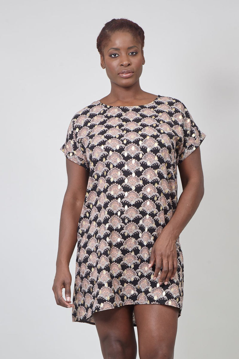 Black | Curve Eastern Print Shift Dress