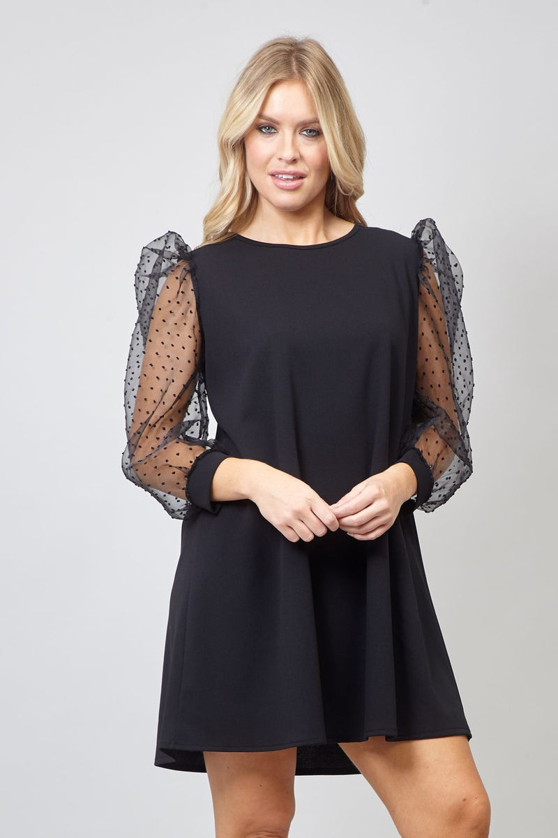 Black | Sheer Puff Sleeve Shift Dress