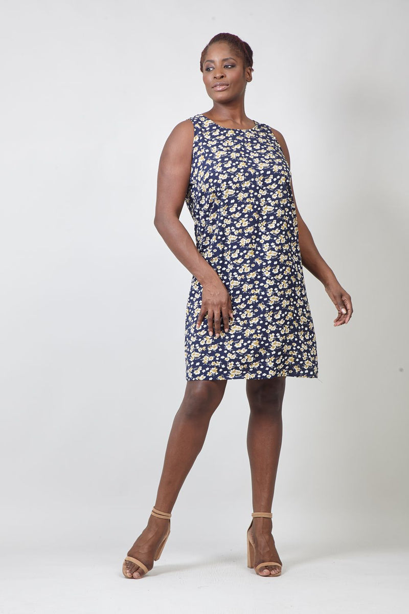 Navy | Curve Ditsy Floral Sleeveless Shift Dress