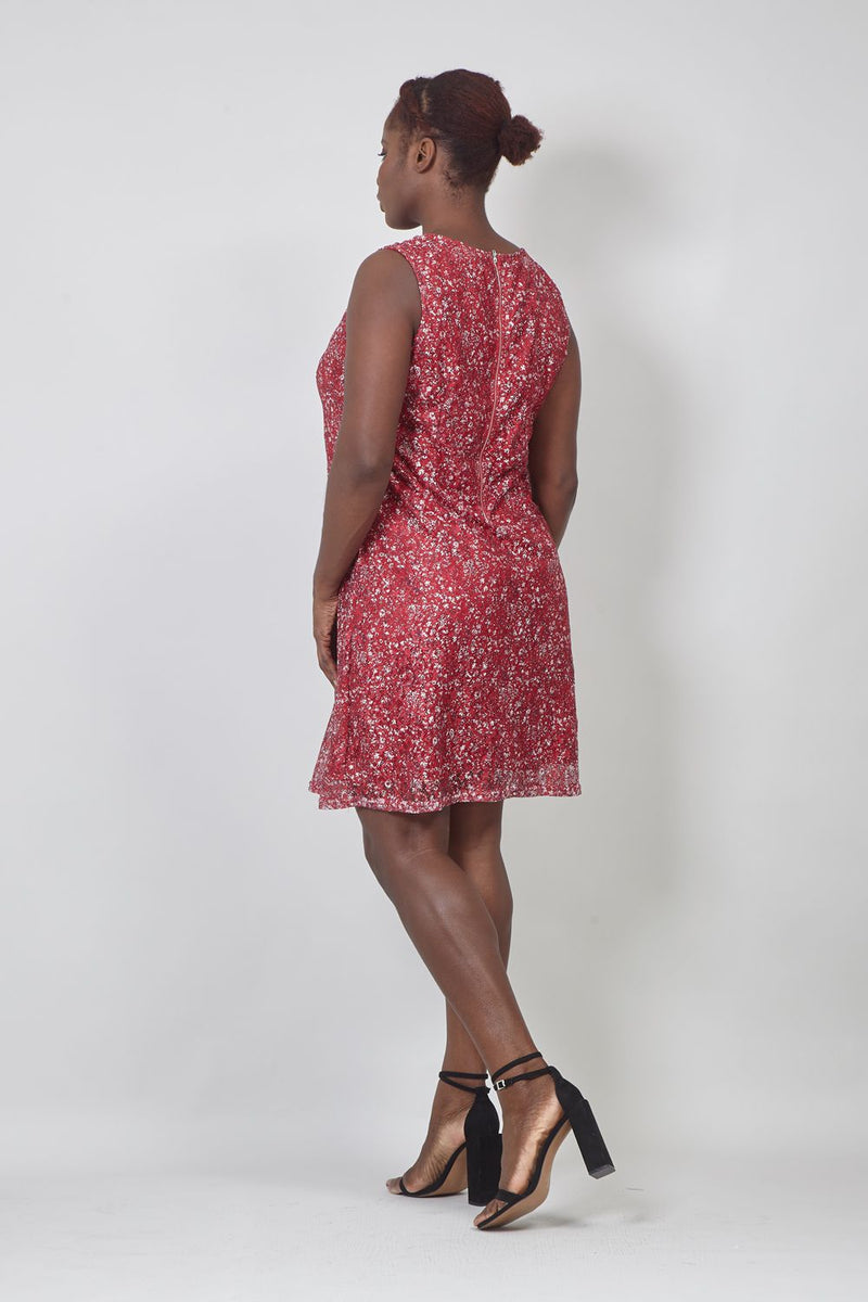 Red | Curve Ditsy Floral Lace Dress