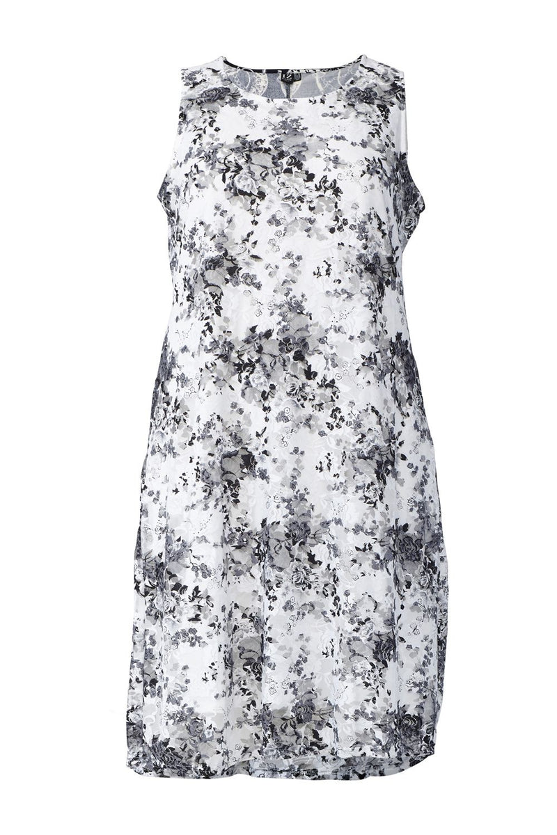 White | Curve Floral Print Lace Shift Dress