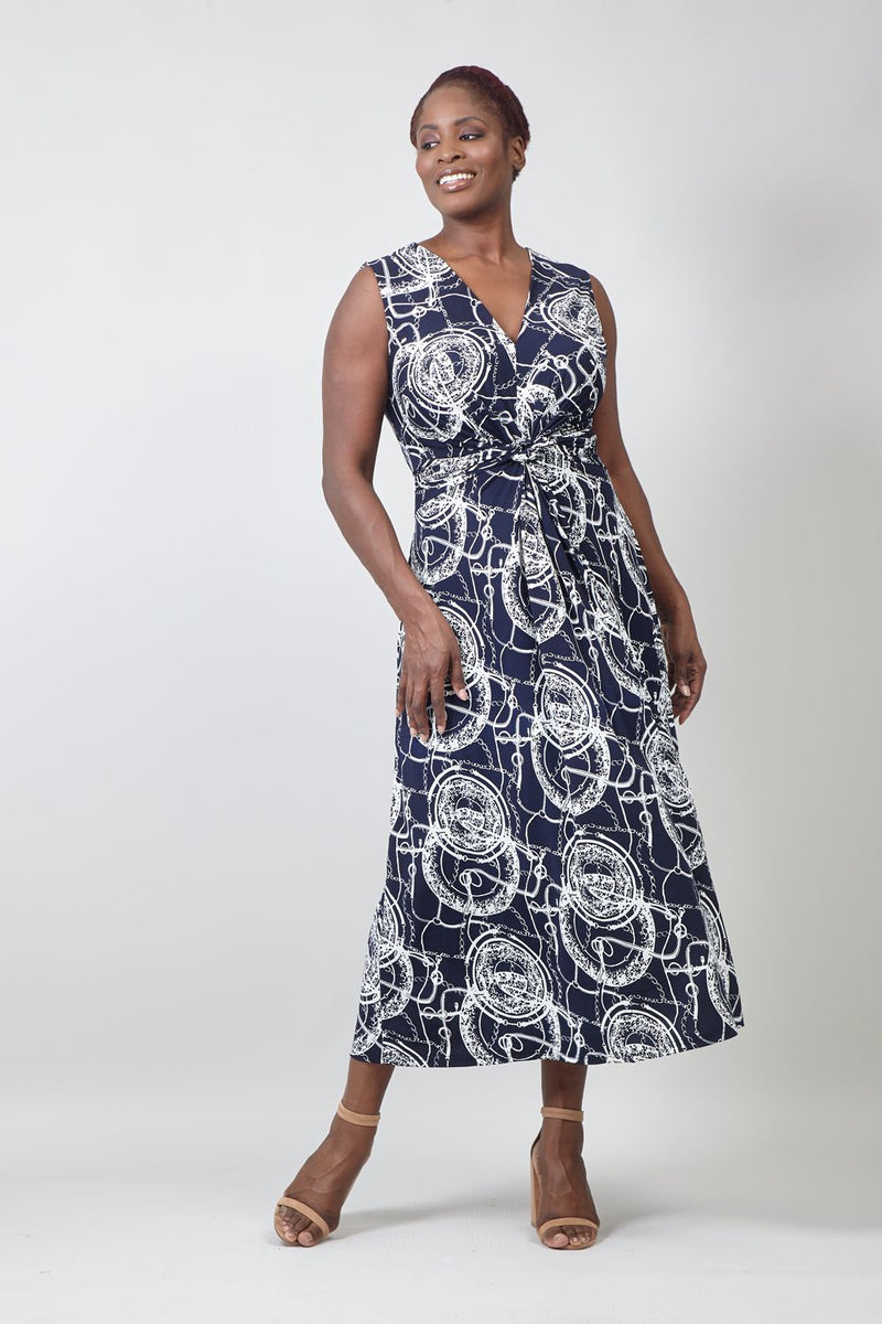 Navy | Curve Abstract Print Maxi Dress