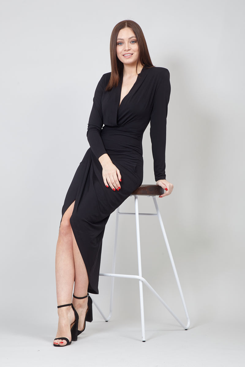 Black | Wrap Front Bodycon Evening Dress