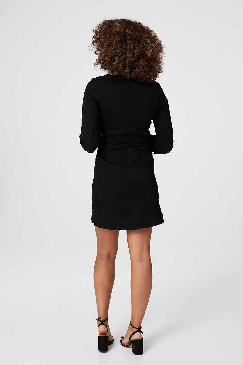 Black | Zip Front Collarless Denim Dress