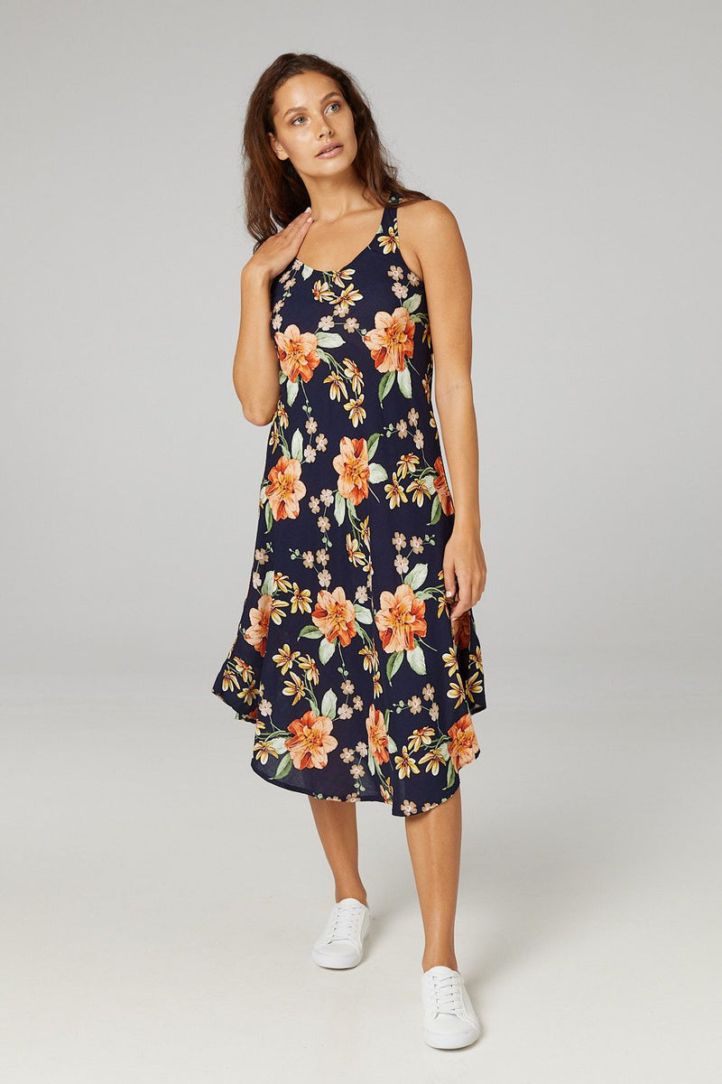 Navy | Floral Fit & Flare Sundress