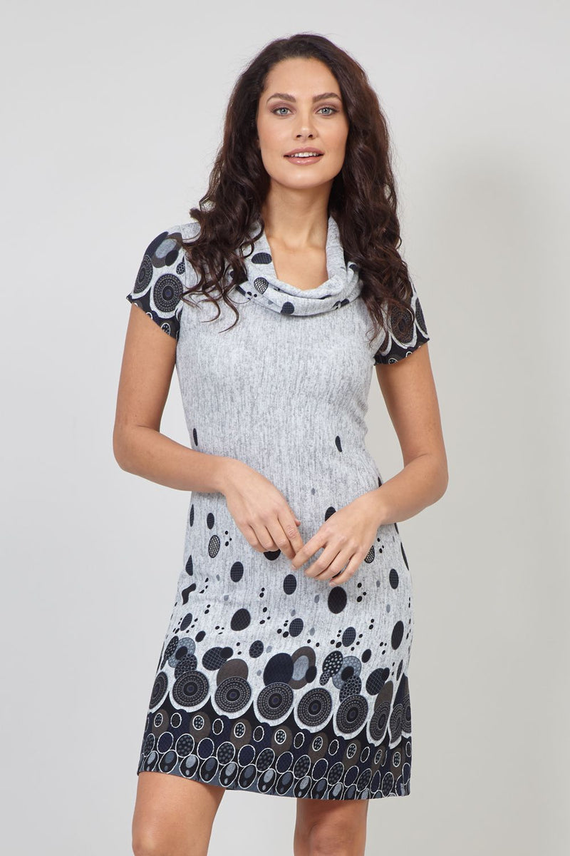 Grey | Circle Print Cowl Neck Tunic Dress