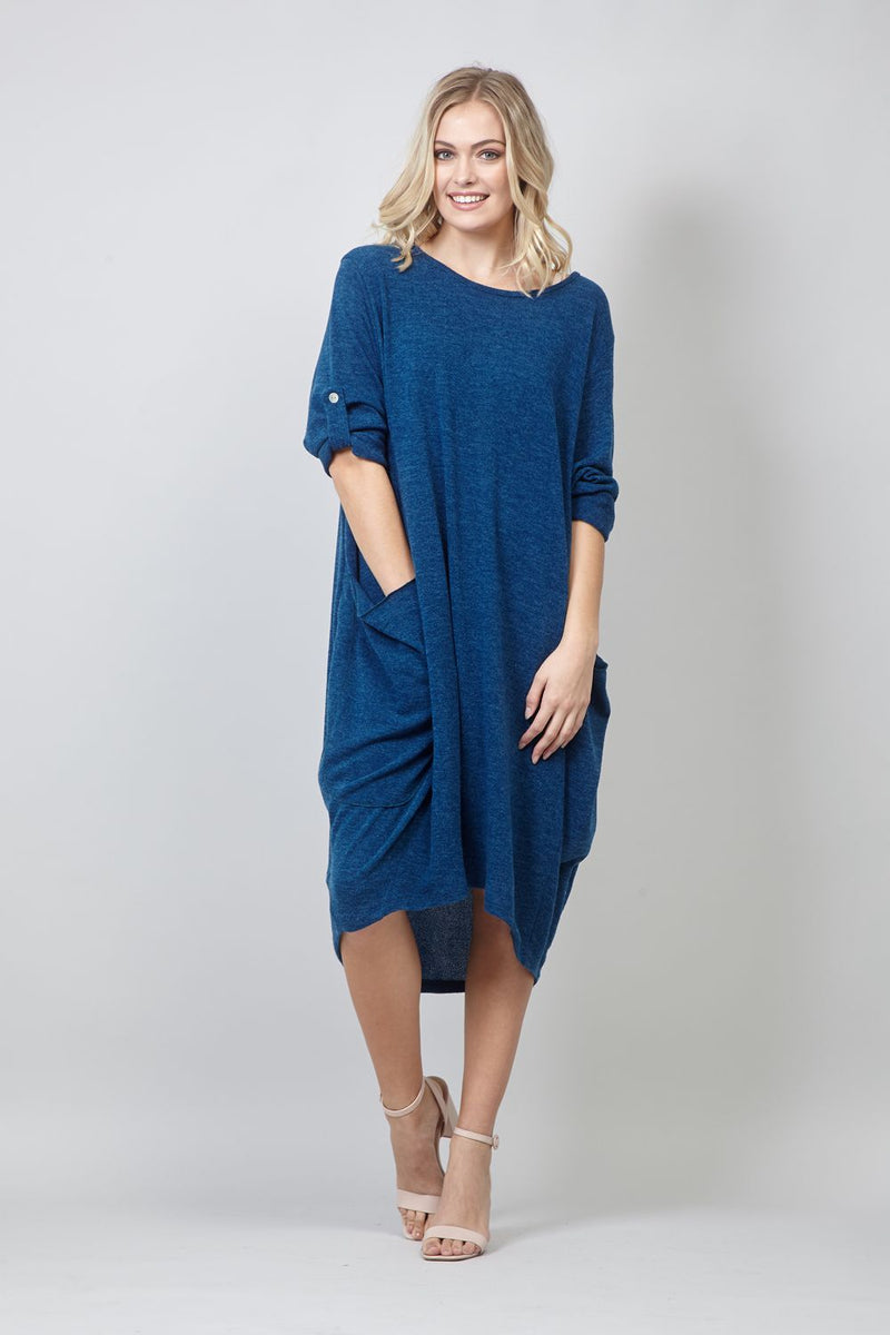 Blue | Pocket Front Smock Dress
