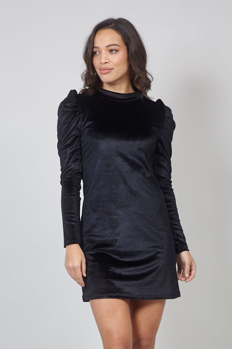 Black | Velvet Puff Sleeve Shift Dress