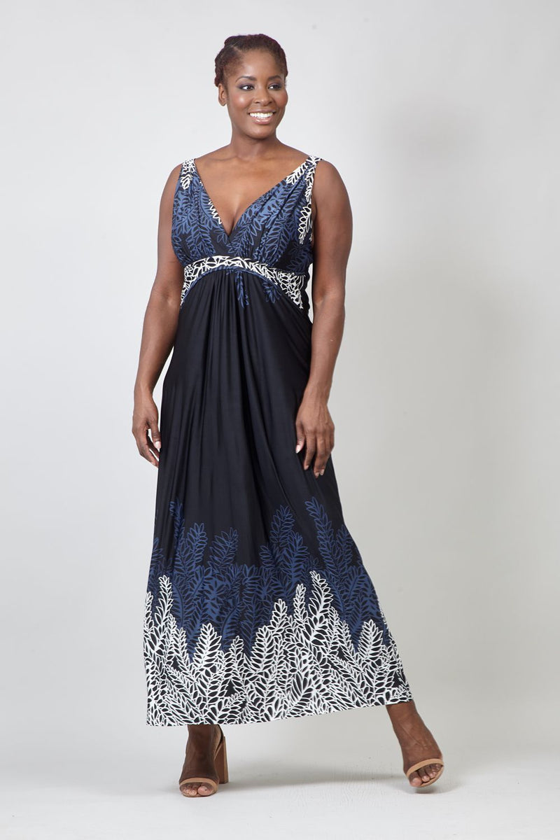 Black | Leaf Print Empire Waist Maxi Dress